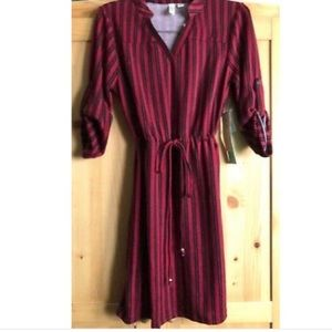 Tacera 3/4 sleeve tie waist casual petite Dress